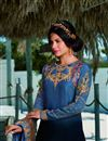 photo of Satin Georgette Fabric Blue Color Fancy Embroidered Salwar Suit