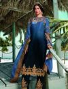image of Satin Georgette Fabric Blue Color Fancy Embroidered Salwar Suit