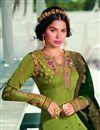 photo of Green Color Satin Georgette Fabric Fancy Embroidered Salwar Kameez