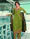 image of Green Color Satin Georgette Fabric Fancy Embroidered Salwar Kameez