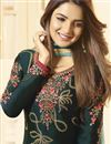 photo of Jasmin Bhasin Teal Color Trendy Embroidered Straight Cut Suit In Satin Georgette Fabric