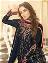 photo of Jasmin Bhasin Satin Georgette Fabric Party Wear Trendy Straight Cut Suit In Navy Blue Color