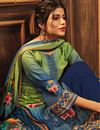 photo of Sea Green Color Fancy Printed Pashmina Fabric Palazzo Suit