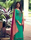 image of Cyan Color Fancy Embroidered Art Silk Fabric Palazzo Suit