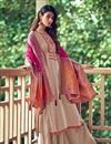 image of Art Silk Fabric Fancy Embroidered Palazzo Dress In Cream Color
