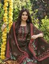 photo of Brown Color Fancy Printed Cotton Fabric Palazzo Suit