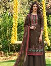 image of Brown Color Fancy Printed Cotton Fabric Palazzo Suit