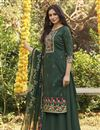 image of Teal Color Fancy Printed Cotton Fabric Palazzo Dress