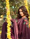 photo of Cotton Fabric Burgundy Color Fancy Printed Palazzo Suit
