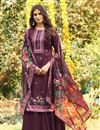 image of Cotton Fabric Burgundy Color Fancy Printed Palazzo Suit