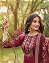 photo of Cotton Fabric Fancy Printed Palazzo Dress In Maroon Color