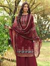 image of Cotton Fabric Fancy Printed Palazzo Dress In Maroon Color