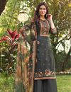 image of Cotton Fabric Grey Color Fancy Printed Palazzo Suit