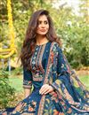 photo of Sky Blue Fancy Printed Cotton Fabric Palazzo Suit
