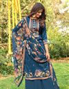 image of Sky Blue Fancy Printed Cotton Fabric Palazzo Suit
