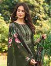 photo of Mehendi Green Color Printed Cotton Fabric Palazzo Dress