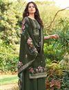 image of Mehendi Green Color Printed Cotton Fabric Palazzo Dress