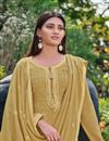 photo of Festive Wear Yellow Color Chic Chinon Fabric Embroidered Palazzo Suit