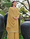 image of Festive Wear Yellow Color Chic Chinon Fabric Embroidered Palazzo Suit
