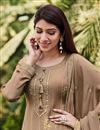 photo of Chic Festive Wear Chikoo Color Embroidered Palazzo Suit In Chinon Fabric