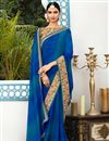 image of Festive Wear Designer Georgette Blue Color Saree With Heavy Blouse
