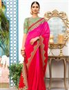 image of Georgette Designer Sangeet Wear Rani Color Saree With Fancy Embroidered Blouse