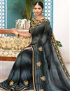 photo of Grey Georgette Function Wear Fancy Saree With Embellished Blouse