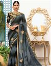 image of Grey Georgette Function Wear Fancy Saree With Embellished Blouse