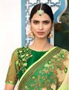 photo of Sea Green Designer Sangeet Wear Georgette Saree With Fancy Embroidered Blouse