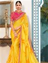 image of Georgette Mustard Function Wear Fancy Saree With Embellished Blouse