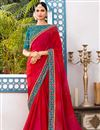 image of Designer Festive Wear Red Georgette Saree With Embroidered Blouse