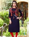 image of Banglori Silk Casual Wear Kurti With Embroidered Koti