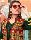 picture of Banglori Silk Kurti In Dark Green With Embellished Koti