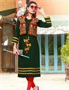 image of Banglori Silk Kurti In Dark Green With Embellished Koti