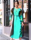image of Aqua Color Party Wear Georgette Readymade Fancy Kurti