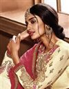 photo of Crepe Fabric Beige Designer Saree With Embroidery Work And Gorgeous Blouse