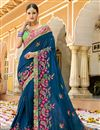 image of Designer Saree In Navy Blue Art Silk Fabric With Embroidery Work