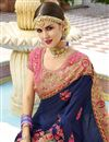 photo of Blue Embroidered Sangeet Wear Art Silk Fabric Saree With Blouse