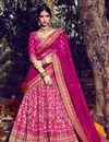 image of Ready To Ship Sumptuous Pink Color Bridal Lehenga Choli In Bhagalpuri Fabric