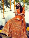 image of Ready To Ship Orange Designer Bridal Lehenga With Embroidery Work On Bhagalpuri Fabric