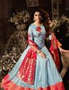 image of Eid Special Jennifer Winget Floor Length Art Silk Anarkali Dress In Light Cyan Color