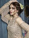 photo of Embroidery Work On Net Beige Sangeet Wear Sharara Top Chaniya Choli With Designer Blouse