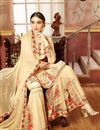 image of Georgette Cream Fancy Sharara Suit With Printed Work