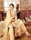image of Designer Embellished Sharara Suit In Georgette Cream