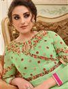 photo of Embroidered Georgette Fennel Green Designer Anarkali Salwar Kameez