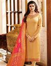image of Eid Special Prachi Desai Georgette Beige Function Wear Dress With Fancy Dupatta