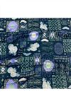 image of Navy Blue Color Rayon Fabric With Abstract Digital Prints