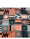 image of Digital Printed Rayon Fabric In Grey Color With Geometric Patterns