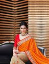 photo of Attractive Satin And Jacquard Party Wear Saree In Cream And Orange Color