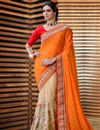 image of Attractive Satin And Jacquard Party Wear Saree In Cream And Orange Color